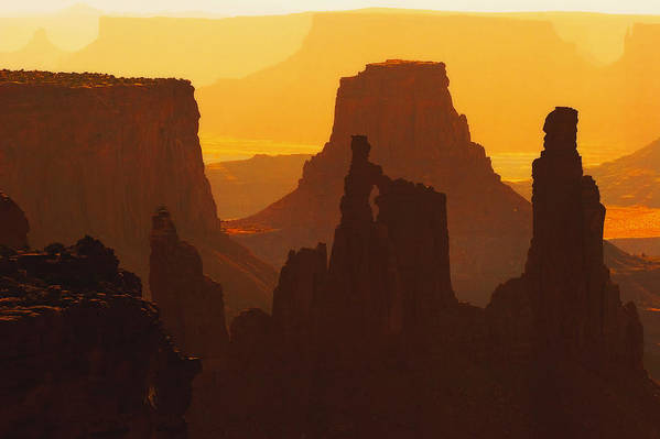 Desert Art Print featuring the photograph Hazy Sunrise Over Canyonlands National Park Utah by Utah Images