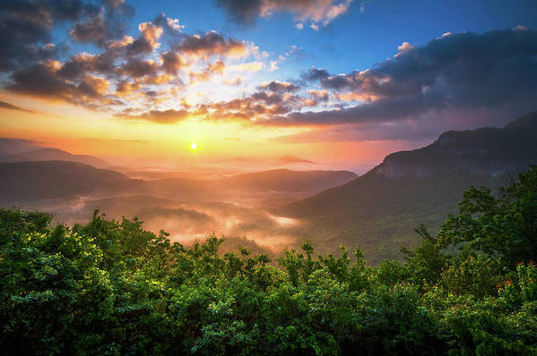 Sunset Art Print featuring the photograph Highlands Sunrise - Whitesides Mountain In Highlands Nc by Dave Allen