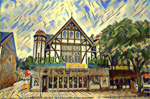 Historic Keswick Theater in Glenside Pa Watercolor by Bill Cannon