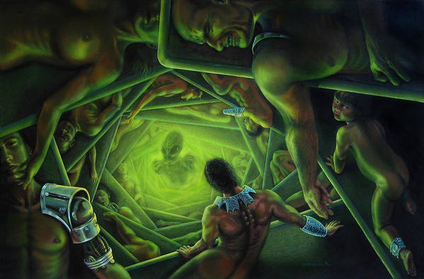 Sci-fi Art Print featuring the painting One Terrible Night by Pat Lewis