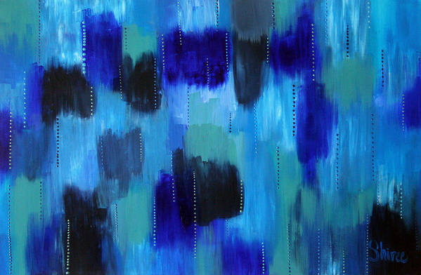 Abstract Paintings Art Print featuring the painting Pearl Raindrops by Shiree Gilmore