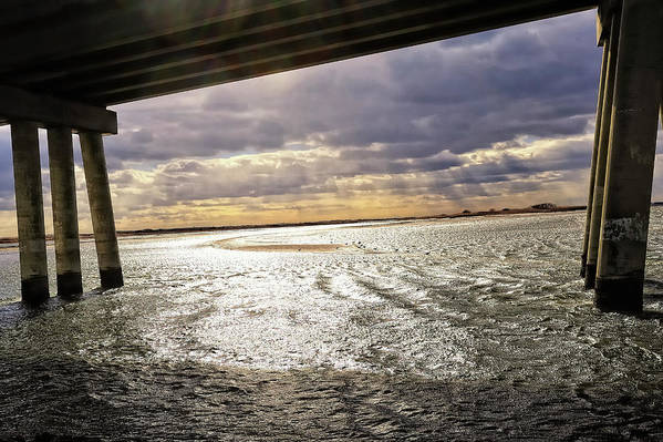 Bridge Art Print featuring the photograph Ponquogue Sky by Tim Doubrava