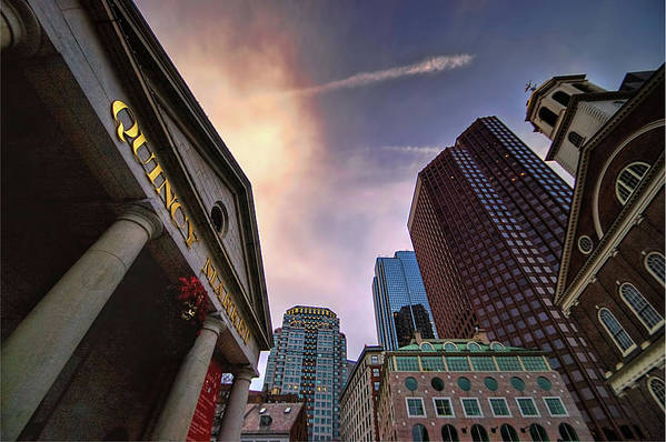 Faneuil Hall Art Print featuring the photograph Quincy Market Sky by Joann Vitali