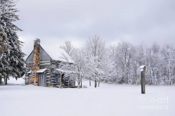 Snow Print featuring the photograph Snowy Cabin by Benanne Stiens
