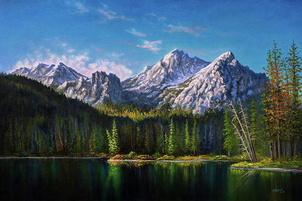 Stanley Art Print featuring the painting Stanley Lake Reflections by Chris Steele
