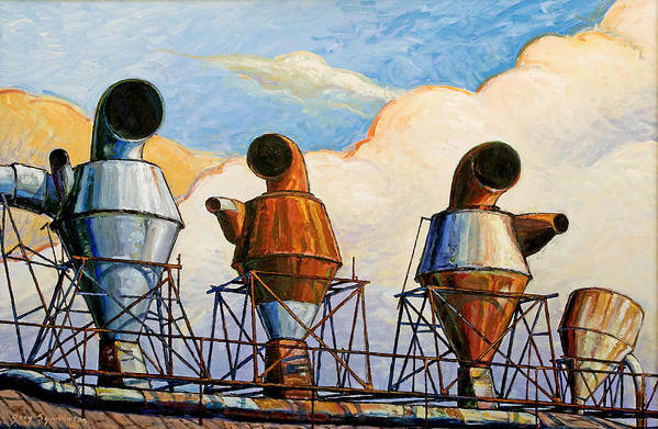 Landscape Art Print featuring the painting Three Sentinels by Gary Symington