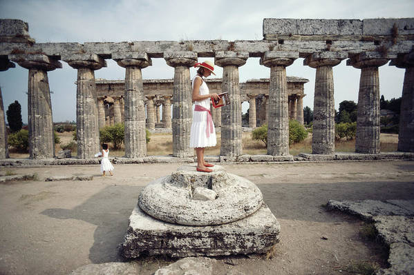 1980-1989 Art Print featuring the photograph Laura Hawk In Paestum by Slim Aarons