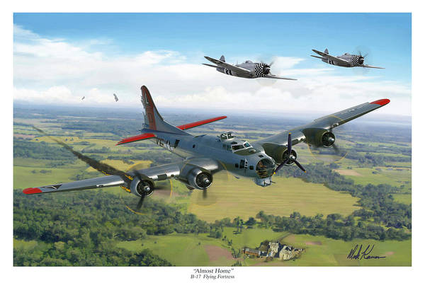 Airplane Art Print featuring the painting Almost Home B-17 Flying Fortress by Mark Karvon