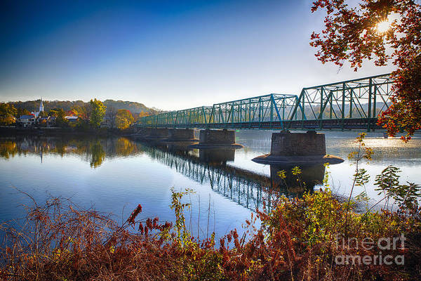 Autumn Morning View of the New Hope Lambertville Bridge  by George Oze
