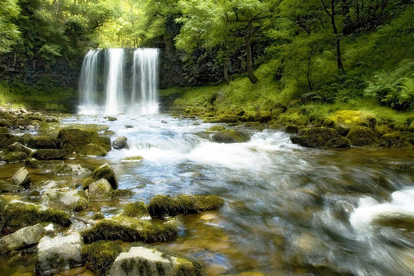Landscape Art Print featuring the photograph Brecon Waterfall by Robert J Taylor