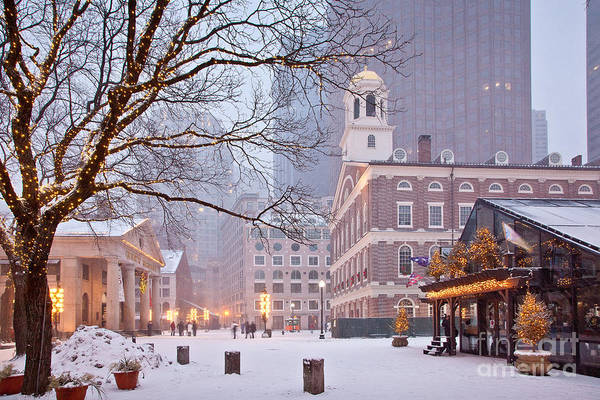 Architecture Art Print featuring the photograph Faneuil Hall In Snow by Susan Cole Kelly