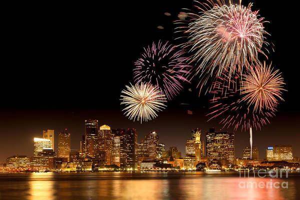 4th Of July Art Print featuring the photograph Fireworks Over Boston Harbor by Susan Cole Kelly