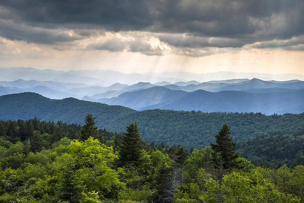 Great Smoky Mountains From Blue Ridge Parkway Art Print By