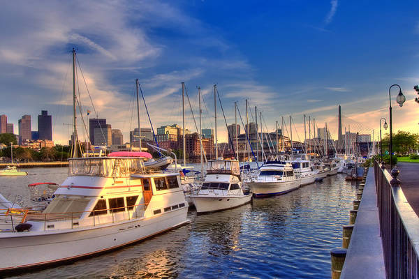 Boston Art Print featuring the photograph Late Afternoon At Constitution Marina - Charlestown by Joann Vitali