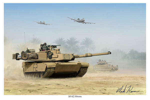 Tank Art Print featuring the painting M1a2 Abrams by Mark Karvon