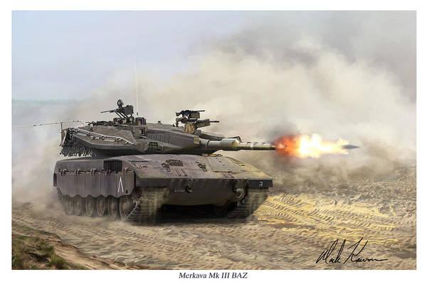 Military Art Print featuring the painting Merkava Mk IIi Baz by Mark Karvon