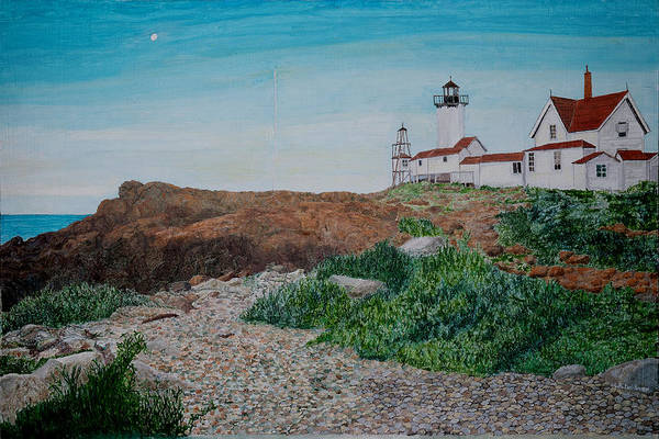 Marinescape Art Print featuring the painting Mother Ann And Eastern Point Light by Laurence Dahlmer
