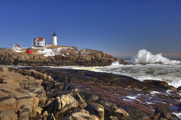 New England Lighthouse Art Print featuring the photograph Nubble Light by Joann Vitali