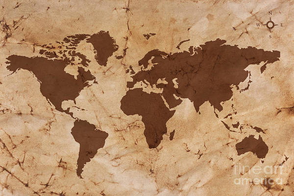 Old world map on creased and stained parchment paper art print by world map art print featuring the photograph old world map on creased and stained parchment paper gumiabroncs Image collections