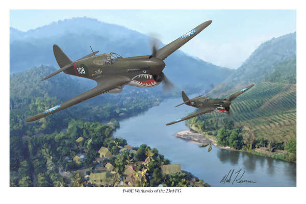 Airplanes Art Print featuring the painting P-40 Warhawks Of The 23rd Fg by Mark Karvon