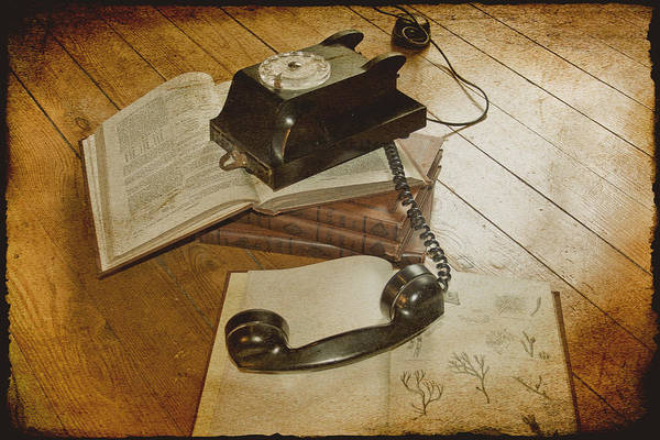Vintage Telephone Print featuring the photograph Please Hold by Georgia Fowler