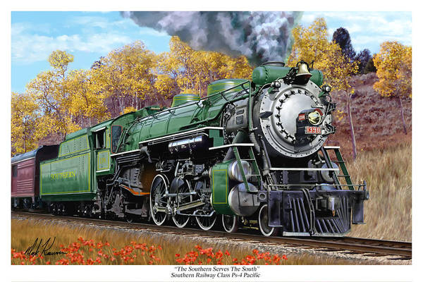 Railraod Art Print featuring the painting Southern Railway Class Ps-4 Pacific by Mark Karvon