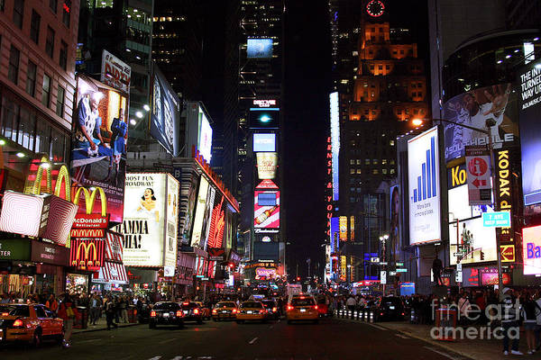 Times Square Colors Art Print featuring the photograph Times Square Colors by John Rizzuto