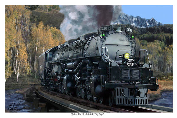 Railroad Art Print featuring the painting Union Pacific 4-8-8-4 Big Boy by Mark Karvon