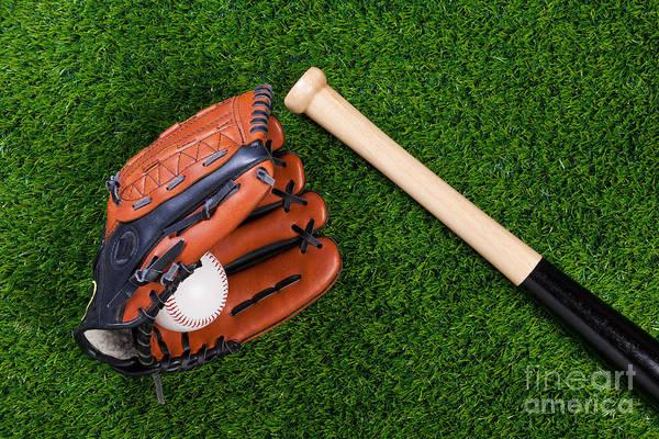 Baseball Glove Art Print featuring the photograph Baseball Glove Bat And Ball On Grass by Richard Thomas
