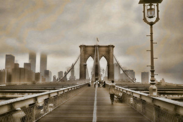 Brooklyn Bridge Art Print featuring the photograph Crossing Over by Joann Vitali