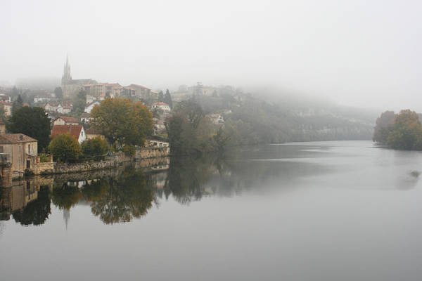 River Art Print featuring the photograph Fumel On A Misty Day by Georgia Fowler