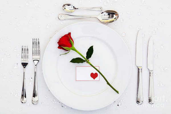 Table Art Print featuring the photograph Place Setting With Red Rose by Richard Thomas