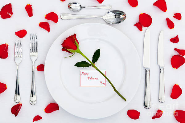 Table Art Print featuring the photograph Valentines Place Setting With Red Rose And Petals by Richard Thomas