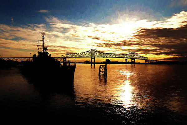 Uss Kidd Print featuring the photograph Bright Time On The River by Scott Pellegrin