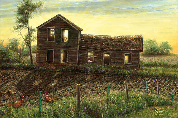 fine Art Oil Paintings By Artist Doug Kreuger old Abandoned Farmhouse prairie Homestead Pheasants Farm Sunrise Art Print featuring the painting Still Light In The House by Doug Kreuger
