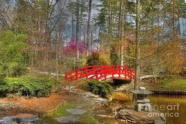 Sarah P. Duke Gardens Art Print featuring the photograph A Bridge To Spring by Benanne Stiens