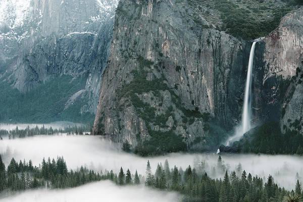 Landscape Art Print featuring the photograph Bridalveil Falls In Winter by Jim Dohms