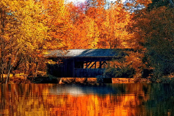 Covered Bridge Art Print featuring the photograph Covered Bridge by Joann Vitali