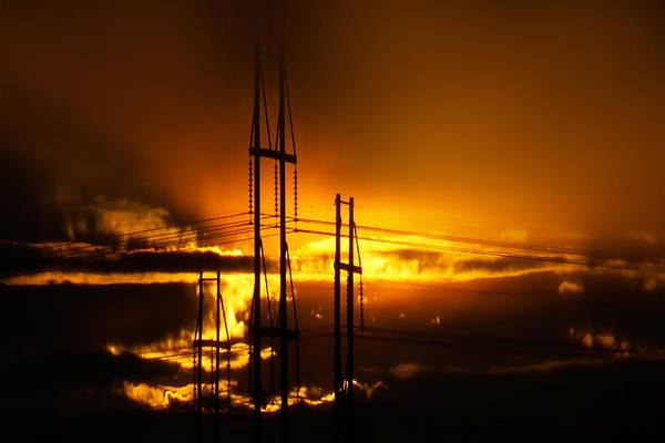 Sunsets Art Print featuring the photograph Fiery Sunset by Michael DeBlanc