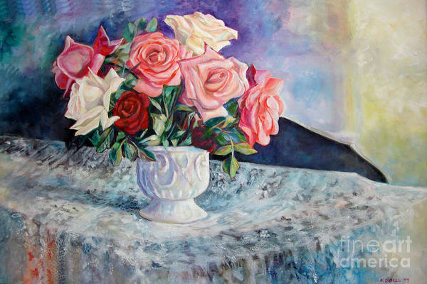 Still Life Art Print featuring the painting Fresh Roses by Nancy Isbell