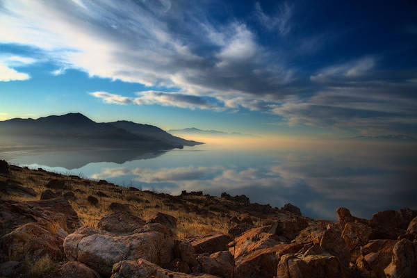 Antelope Island Art Print featuring the photograph Great Salt Lake Utah by Douglas Pulsipher