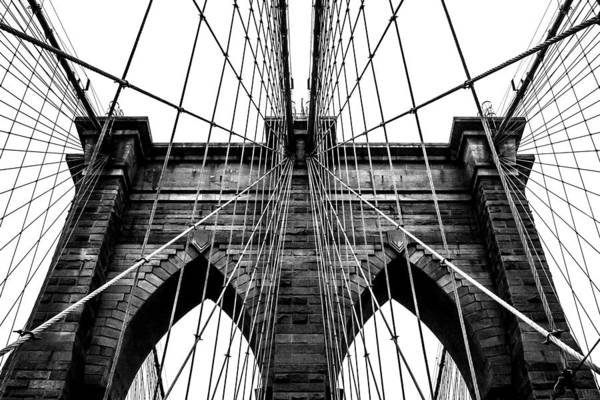 Brooklyn Bridge Art Print featuring the photograph Imposing Arches by Az Jackson