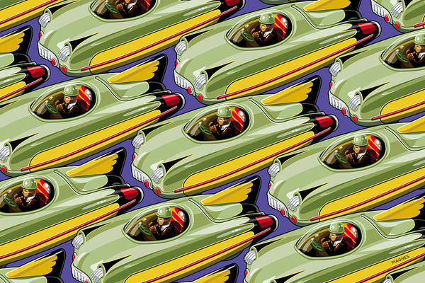 Toys Art Print featuring the digital art Jet Racer Rush Hour by Ron Magnes