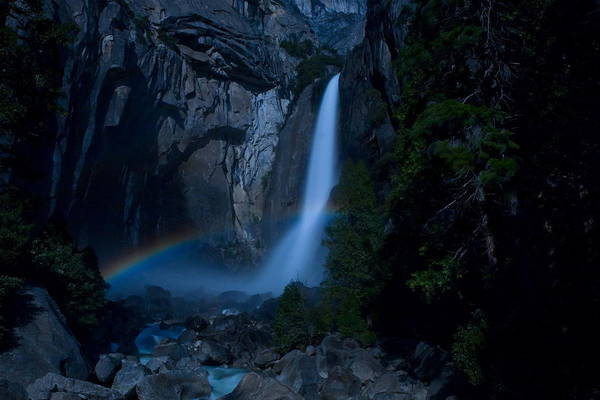 Landscape Art Print featuring the photograph Lower Yosemite Falls Moonbow by Jim Dohms