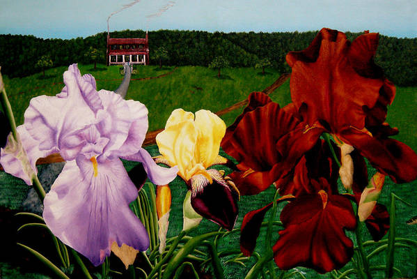 Garden Art Print featuring the painting M S O S Irises 2 by Ivan Rijhoff
