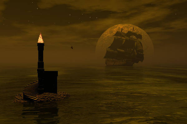 Windjammer Art Print featuring the digital art Make For The Light by Claude McCoy