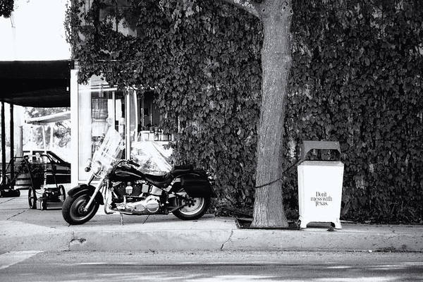 Motorcycle Art Print featuring the photograph Motorcycle In Big Spring Tx by Troy Montemayor