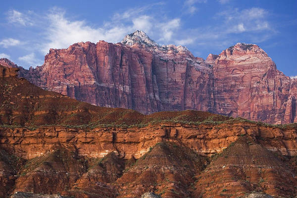 Zion National Park Art Print featuring the photograph Mount Kinesava In Zion National Park by Utah Images