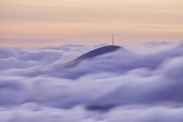 Parkway Art Print featuring the photograph Mount Pisgah In The Clouds by Rob Travis