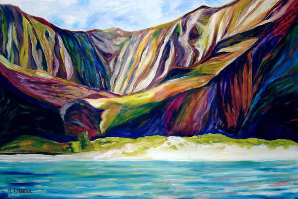 Water Art Print featuring the painting Napali Coast by Nancy Isbell